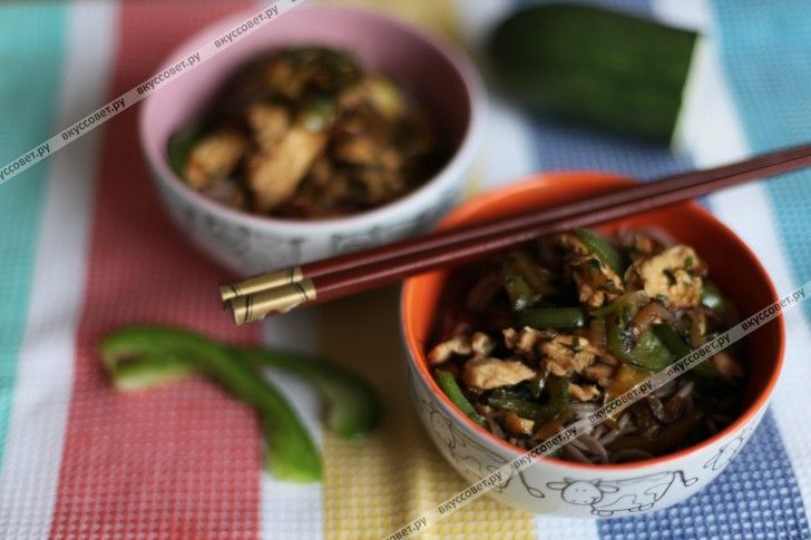 Лапша соба с курицей и овощами с соусом терияки пошаговый рецепт с фото