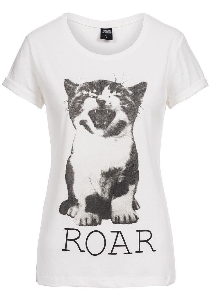 Hailys Damen T-Shirt NELLY AM-0914125 ROAR Print vorne weiss - 77onlineshop