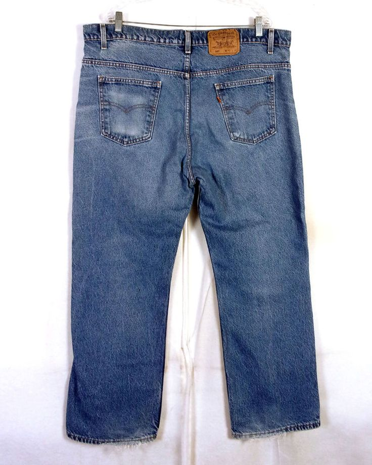 vtg 80s Levis 517 orange tab USA made Boot Cut Denim Jeans Whiskers 42 X 30