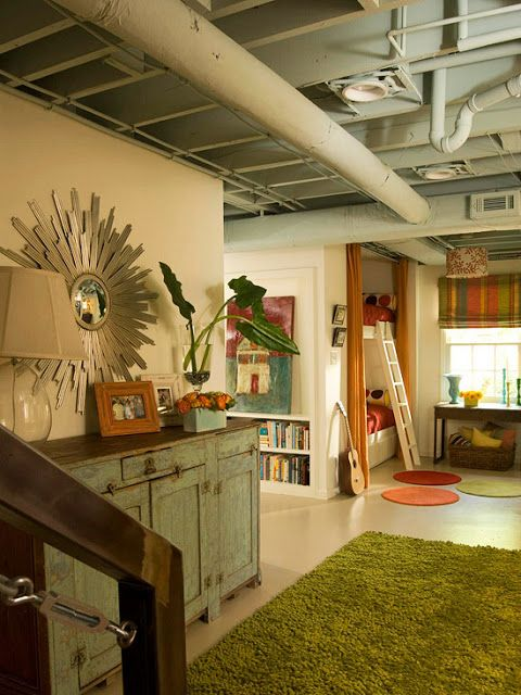 Semi finished unfinished basement unfinished basement Basement ceiling color ideas
