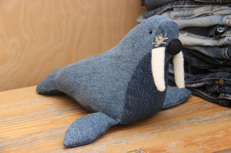 Denim sea lion , sea lion , stuffed toy , denim recycled upcycled , arctic , seal , soft toy , soft sea lion , stuffed sea lion , ocean by SecondBirthday on Etsy