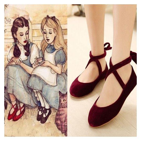 Strappy Velvet Girls Ballet Lolita Flat Shoes