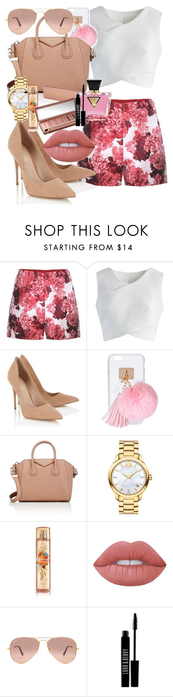 """""""Sin título #31"""" by sarai-almaguer on Polyvore featuring moda, Moncler Gamme Rouge, Chicwish, Lipsy, Ashlyn'd, Givenchy, Movado, Urban Decay, Lime Crime y GUESS"""