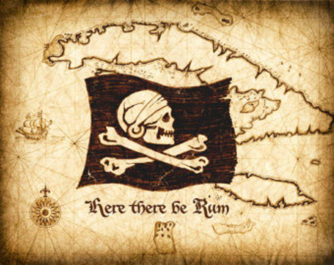 Rummy Skull and Bones - Here There Be Rum Pirate Art Print - Skull and Crossbones - Pirate Flag - Pirate Art - Pirate Prints - Caribbean Sea