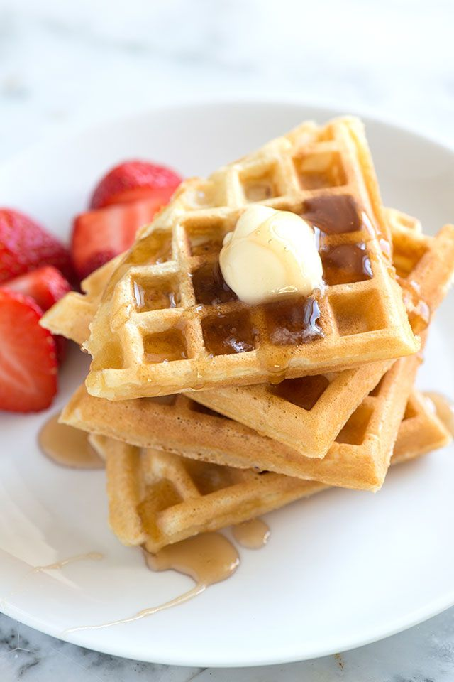 Learn the secret to making light and crispy homemade waffles with tender, chewy middles. Use milk or buttermilk for these. / Recipe on inspiredtaste.net