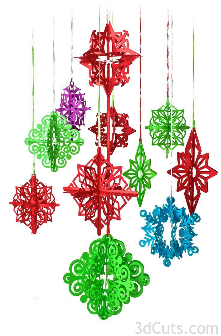 3D Paper Christmas Tree Ornaments- cutting files by Marji ...