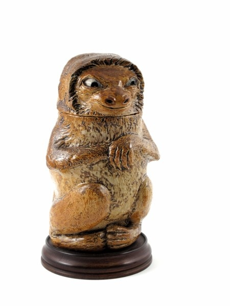 """Martin Brothers Pottery - Robert Wallace Martin (1843-1923) - Sloth Covered Tobacco Jar. Painted & Glazed Stoneware. Southall, Middlesex, England. Circa 1893. 9""""."""
