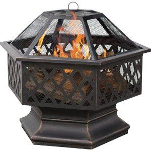 Amazon.com: UniFlame Hex Shaped Outdoor Fire Bowl With Lattice, Oil Rubbed  Bronze