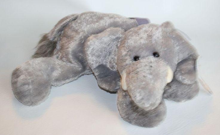 "Plush Mary Meyer Elephant EDDIE Stuffed Animal Flip Flops Gingham Bow 17"" #MaryMeyer"