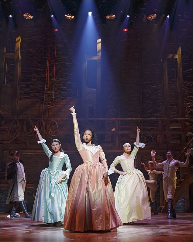 Phillipa Soo, Renée Elise Goldsberry and Jasmine Cephas Jones in Hamilton