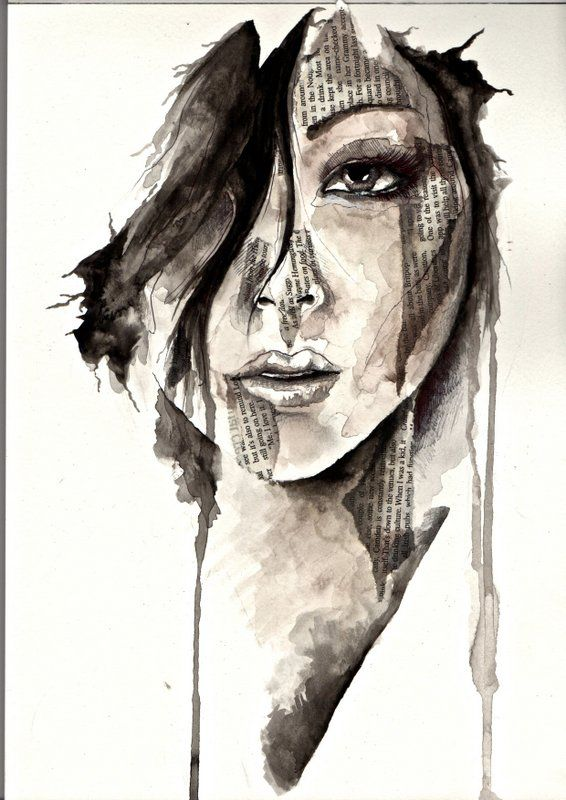Mixed-media piece; Watercolour, pencil and biro pen, in the style of Florian Nicolle.
