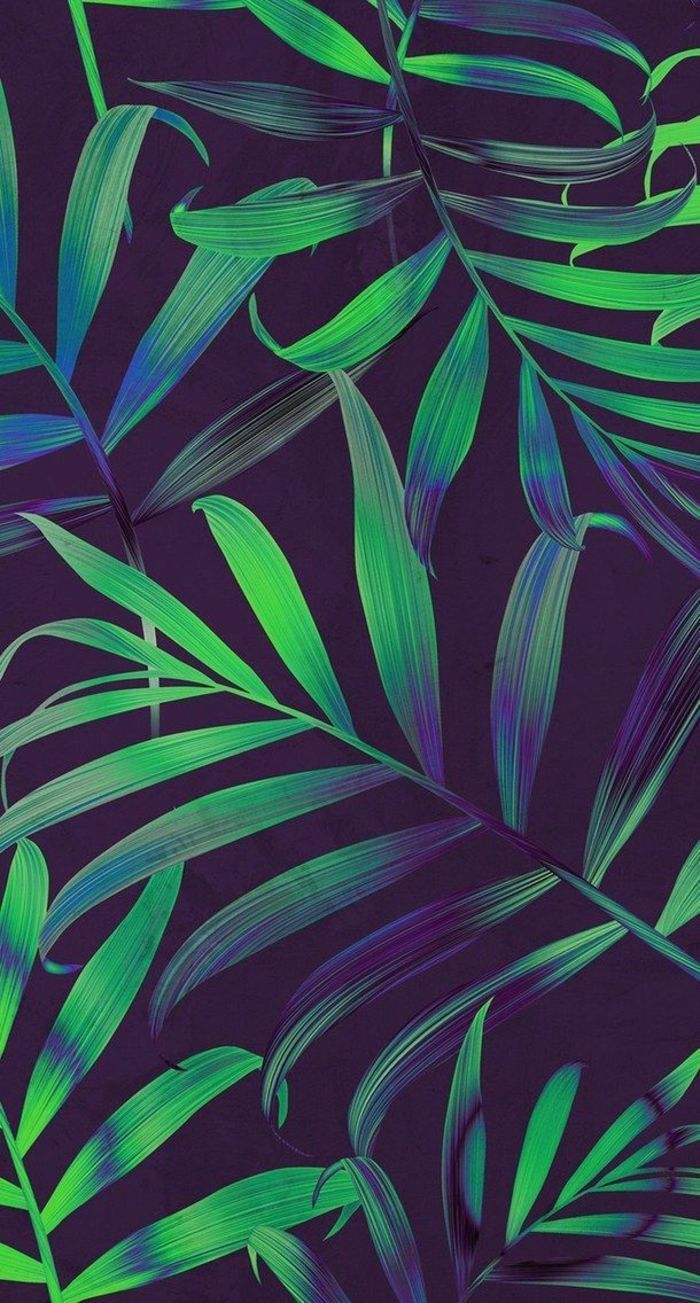 Green And Blue Palm Leaves Cute Iphone Wallpapers Black Background Leaf Wallpaper Nature Wallpaper Tumblr Wallpaper