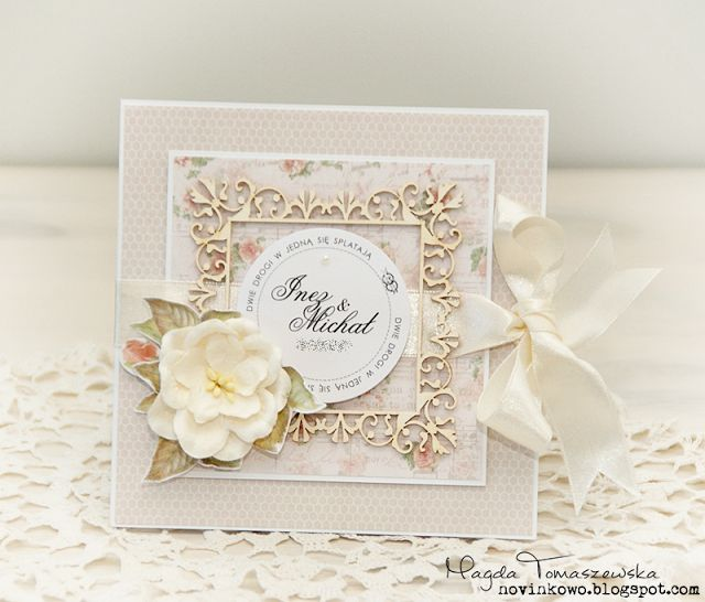Delikatna kartka ślubna / Delicate Wedding card by Novinka