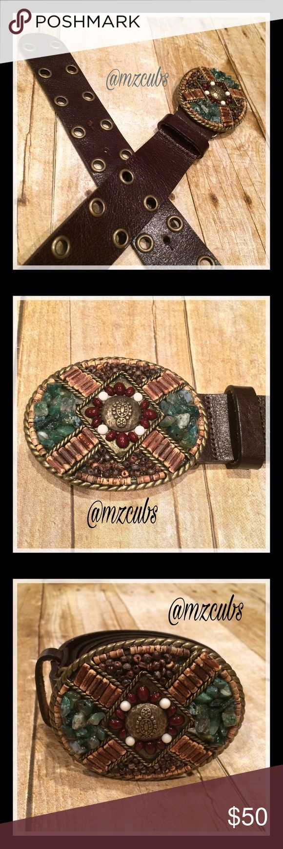 """♦️Cabi Rococo Belt EUC. 🚫Please, no offers. Vintage Cabi Rococo belt, Fall 2009. Brown belt with beautiful stone belt buckle. Very minimal wear. Approximately 40"""" without buckle. Approximately 1 1/2"""" width. See photo for additional measurements. CAbi Accessories Belts"""