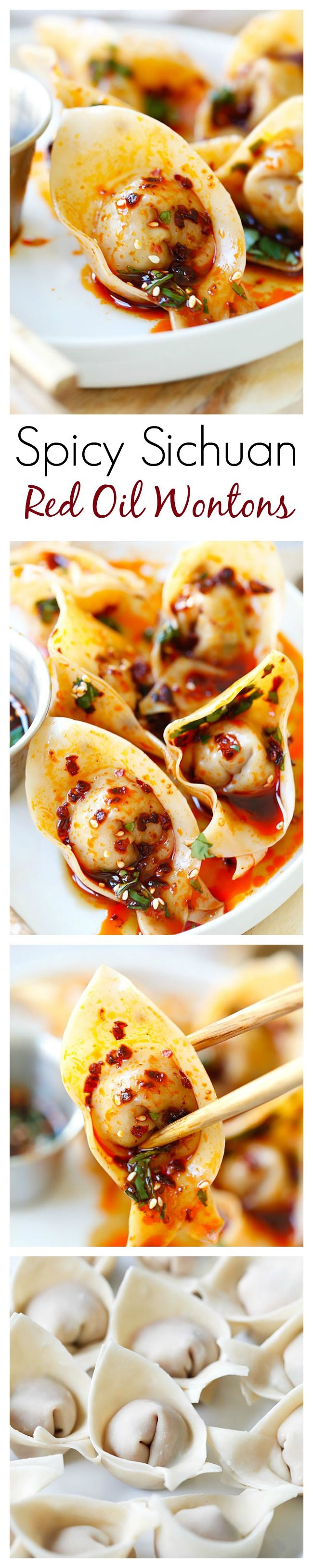 Sichuan Red Oil Wontons – delicious and mouthwatering spicy wontons in Sichuan red oil and black vinegar sauce. Easy recipe for homemade spicy wontons | rasamalaysia.com