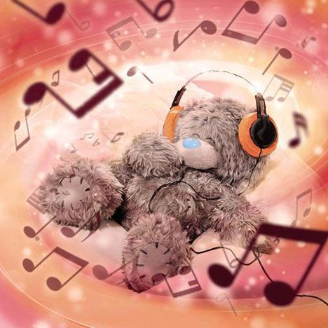 """•*¨*•♪♬3D Holographic Me to You Bear ~ """"Music Notes"""" Birthday Card♪♬•*¨*•"""