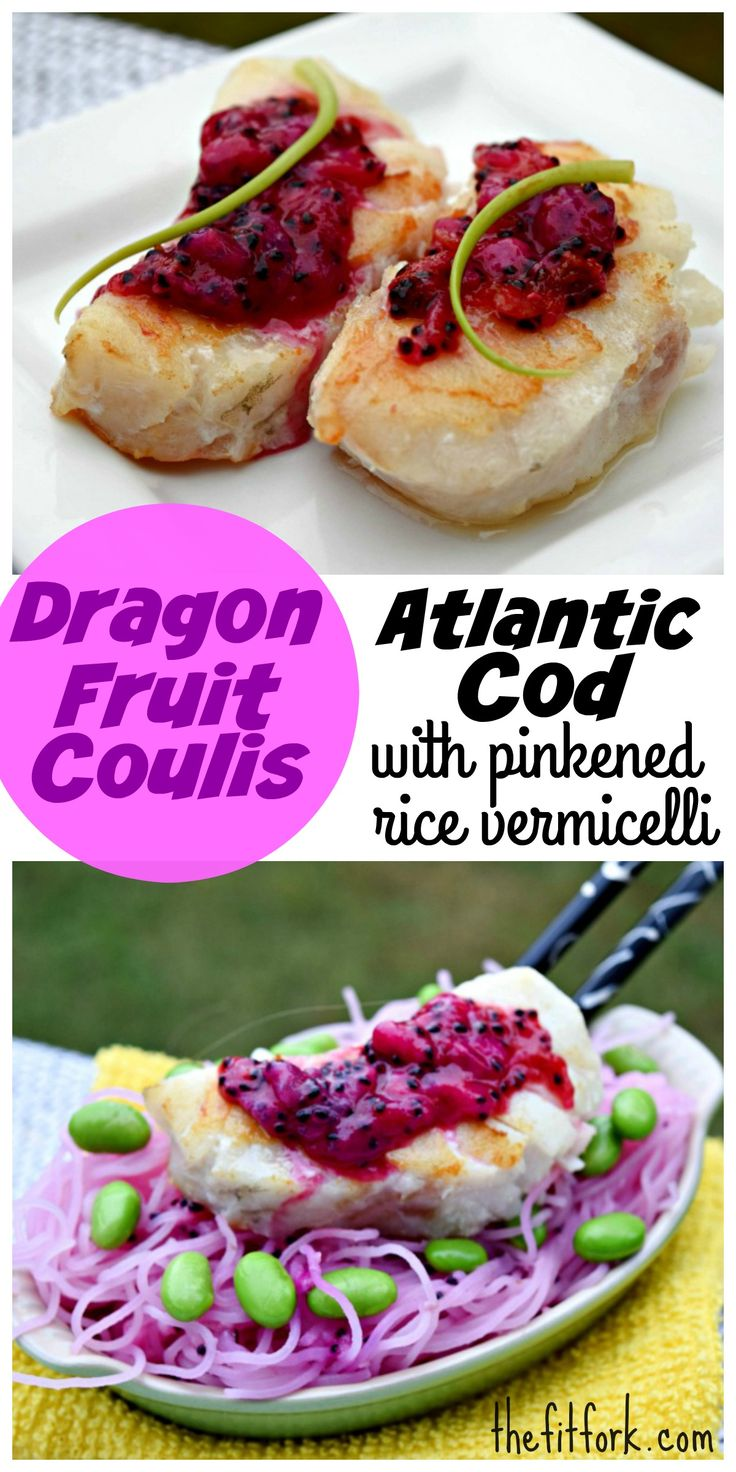 Dragon Fruit Coulis Atlantic Cod with Pinkend Rice Vermecelli -- as pretty as it is healthy to eat!