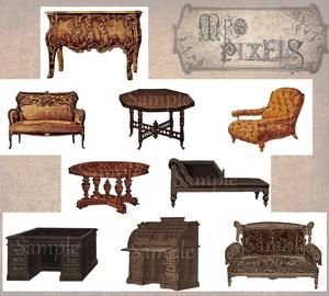Elaborate Victorian style furniture, decorative details that are easy to arrange and change up your lifestyle in digital altered art and craft image creations. #VintageImages #Victorian #Furniture #CollageElements