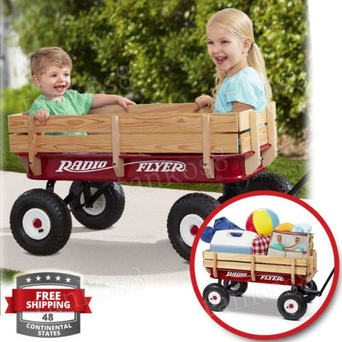 Classic-Red-Wagon-For-Kids-Steel-Wood-Extra-Long-Handle-All-Terrain-Garden-Toy