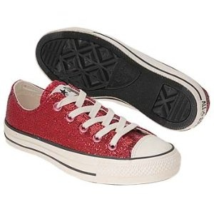 Ruby red Chuck Taylors to match my uniform