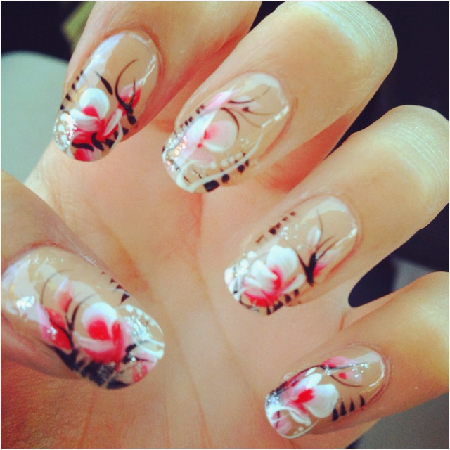 Nails for prom. The design is hand-drawn, not stenciled!