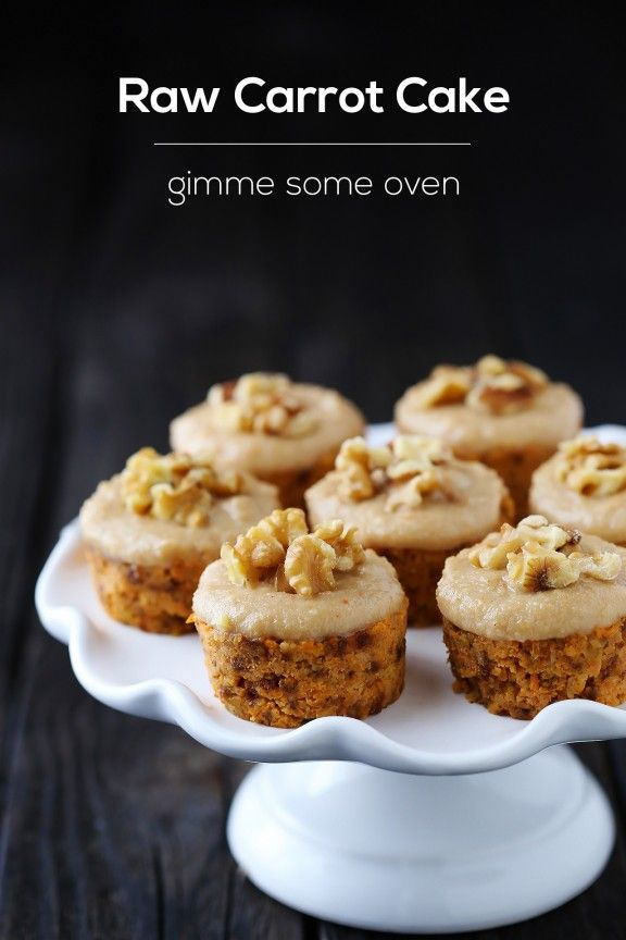 Raw Carrot Cake with Cashew Vanilla Frosting | gimme some oven. Sub agave for the honey