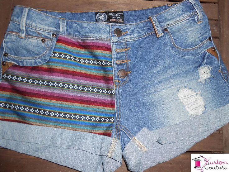 Customisation d'un short en jean avec tissus navajo   Kustom Couture