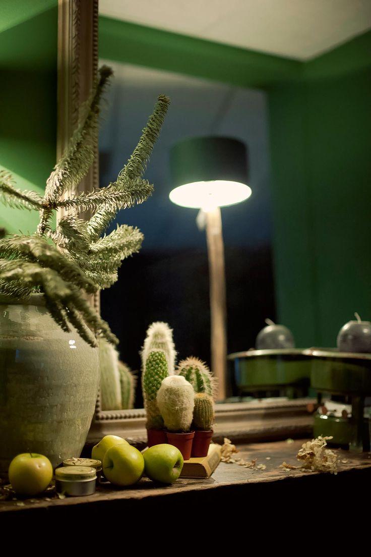 Sidetable groen oud hout | www.twoonhuis.nl