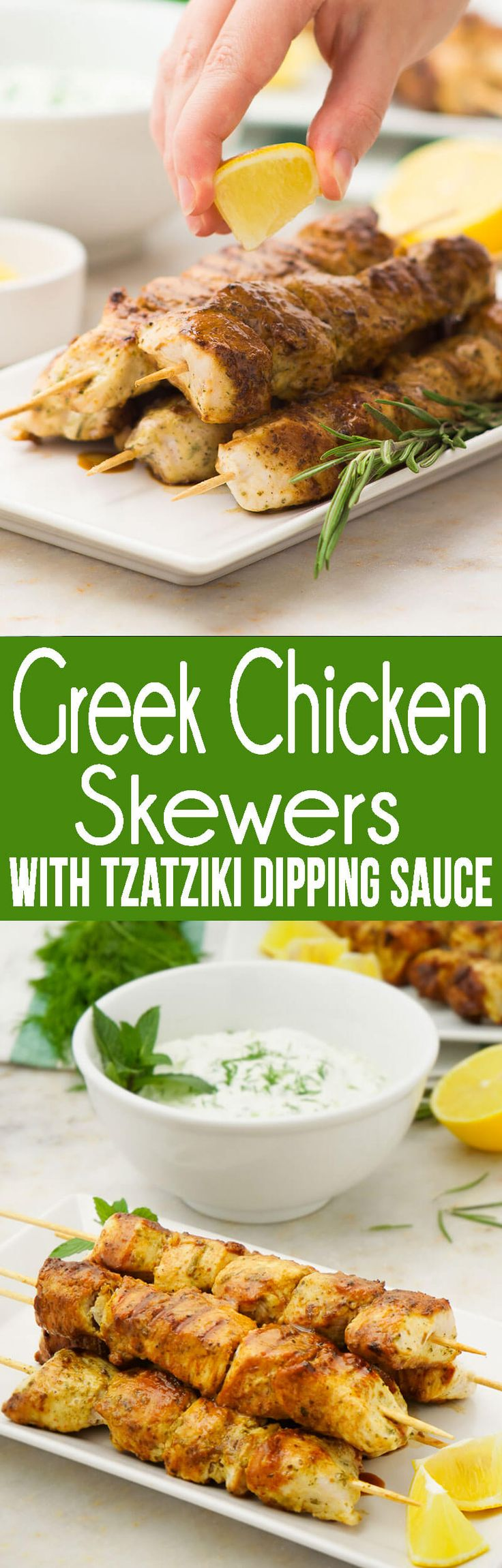 Greek Chicken Skewers with Tzatziki Dipping Sauce, we make these for lunch, weeknight dinners, all summer long, etc.  #chickendinner #chickenskewers #summerbbq #summerdinner #dippingsauce #chickendippingsauce