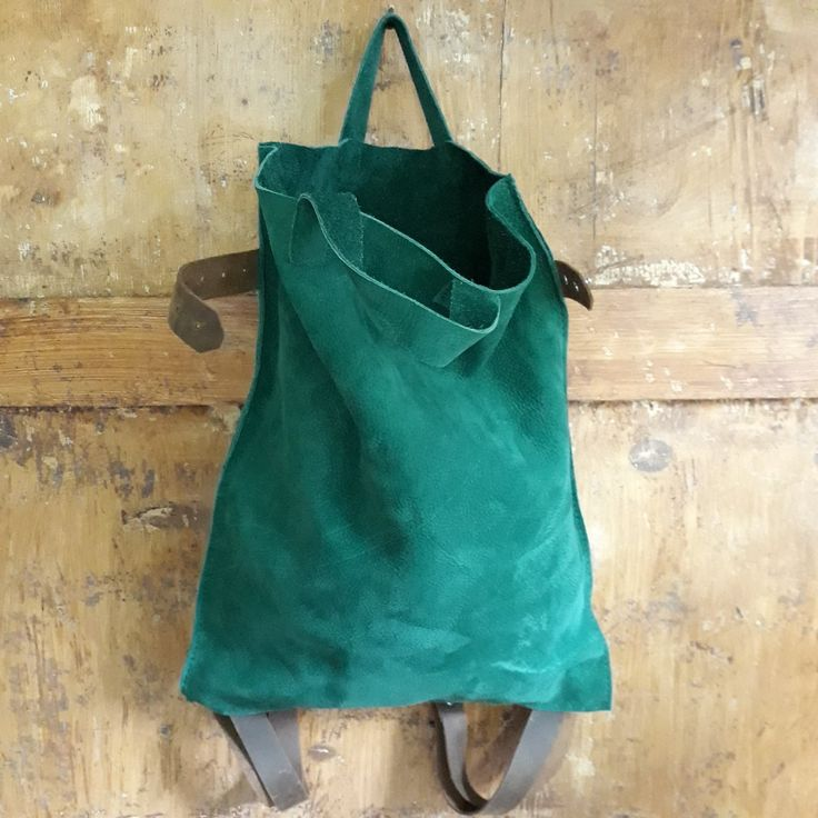Emerald green suede backpack www.etsy.com/shop/ZazooHandCrafts