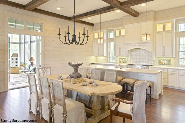 White Kitchen With White-washed Wood, Beams, Horizontal