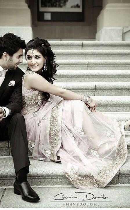 South Asian Bride & Groom – Love this pose, really shows off the bride's outfit.