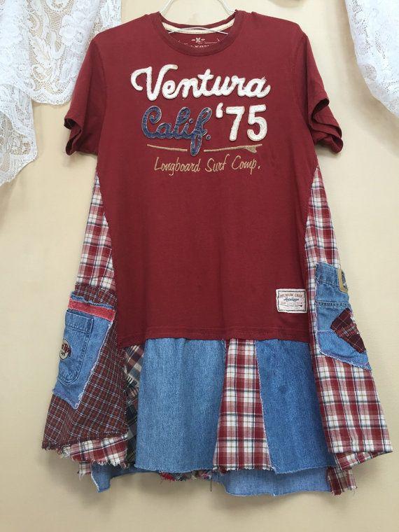Cathrineann : Upcycled lambeaux Patchwork Denim tunique à carreaux, Ventura Californie T-Shirt porté en coton doux, poches en Denim avec Appliqué et broderie de