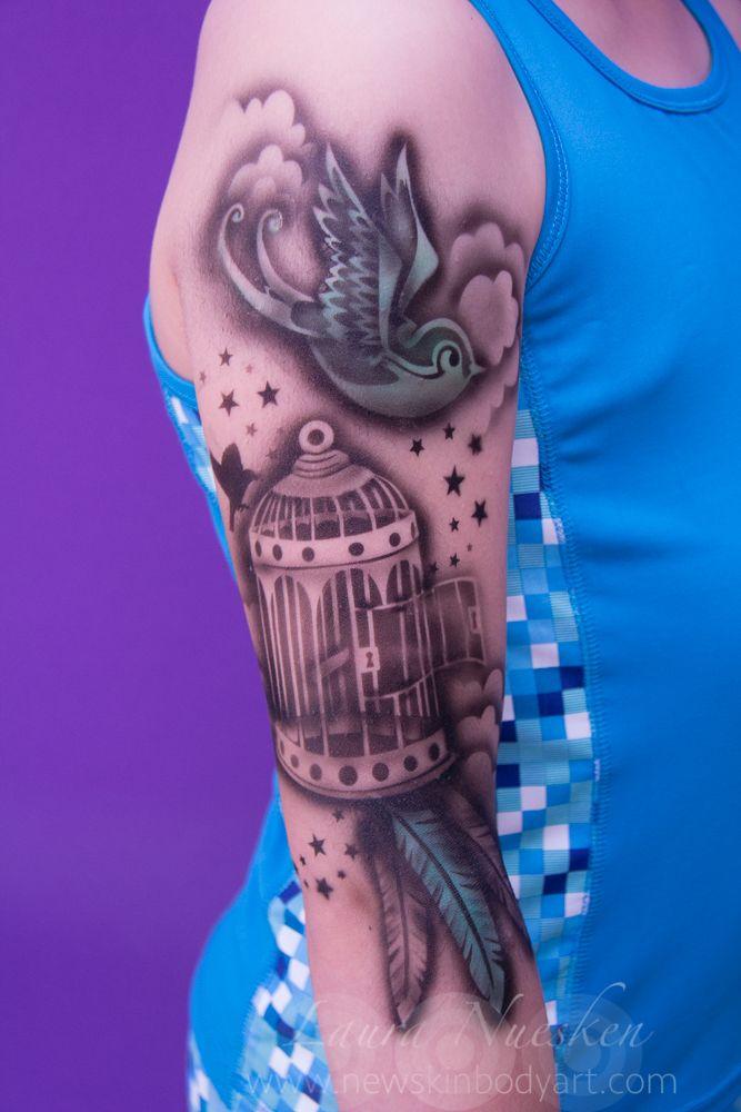 airbrush tattoo- by Laura @NewSkinBodyart using Tattoo Pro stencils