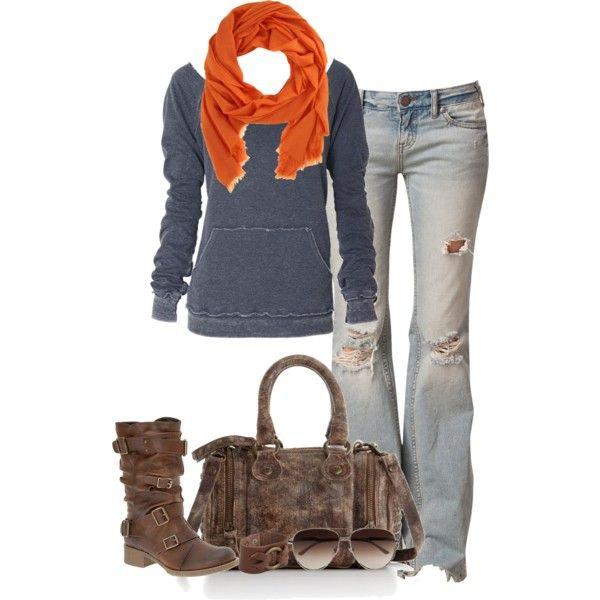 This super casual outfit I like a lot. I even kinda like the orange scarf. I don't like all the holes in the jeans though. Boots and bag are great.