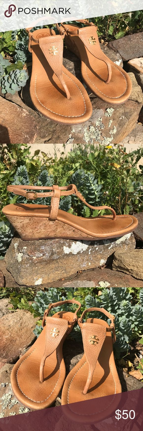 Tory Burch Neutral Sandals Cute and easy Torys! The perfect summer neutral, put them on and go. The slight wedge adds a little flair and helps flatter legs. Love the gold hardware - to enhance that summer glow. Easily wear into fall in warmer climates. Tory Burch Shoes Sandals