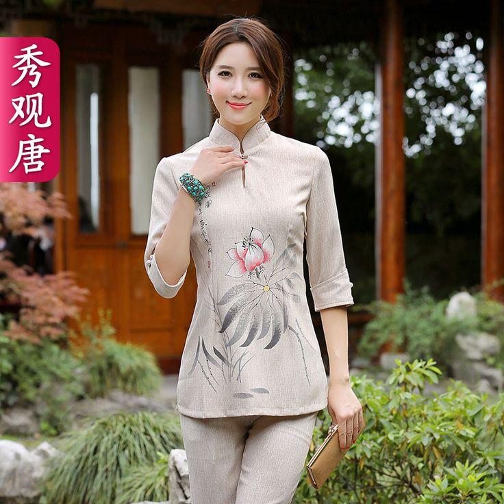 Lotus Ink Print Flax Qipao Cheongsam Shirt - Brown - Chinese Shirts & Blouses - Women