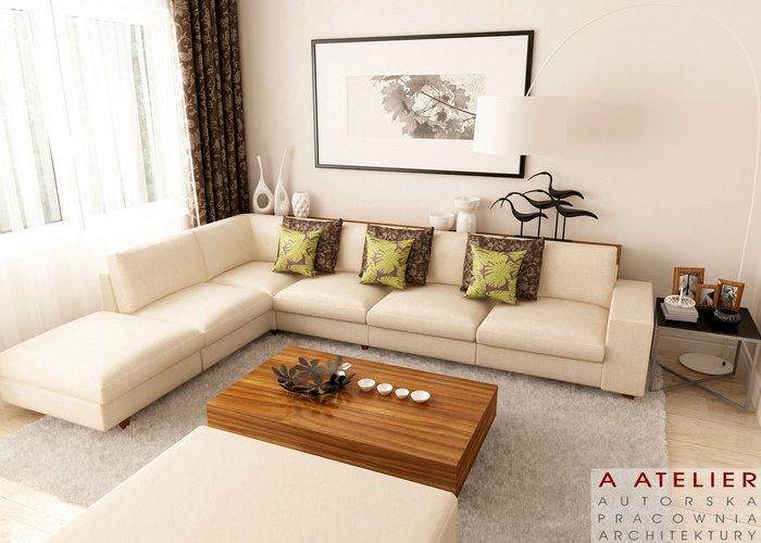 #projekt #salon #kanapa #zielen #livingroom A Atelier, Dzikie Orchidee www.domowy.pl/projekty-wnetrz/dzikie-orchidee-salon.html