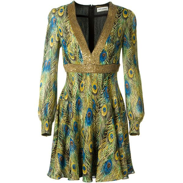 Saint Laurent Peacock Feather Printed Lamé Dress ($1,420) ❤ liked on Polyvore featuring dresses, beaded dress, v neck sequin dress, sequin blouson dress, sequin embellished dress and long dresses