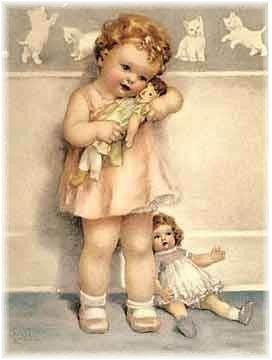 i have always adored this painting of this little girlie snuggling an obviously well-loved baby and preferring that to the newer, more perfect one.  sigh.  so love this.