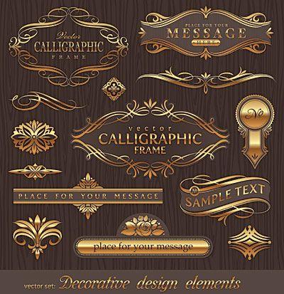 飾り枠・飾り罫、ゴールドのカリグラフィー(タイトル飾り)…