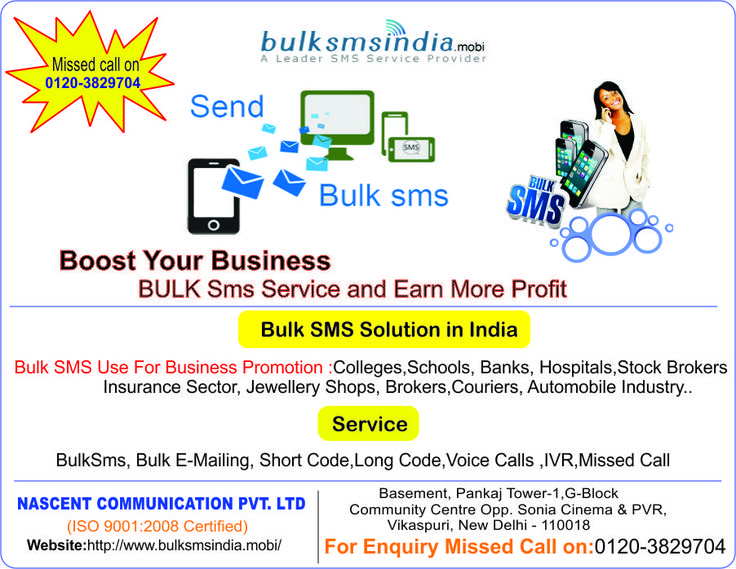 BulkSMSIndia.mobi Offer Bulk SMS Service in india.Our services can be used for sms marketing to send sms to all india.