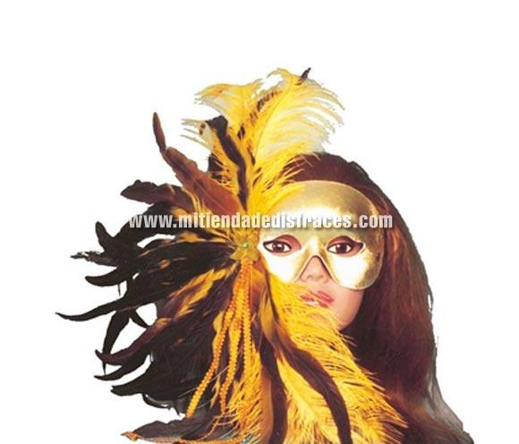 Antifaz de plumas dorado