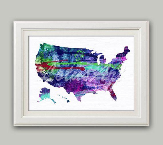 Blue Purple United States Map Print Usa Map Wall Art Usa Watercolor