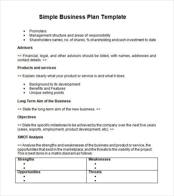Simple Business Plan Template Word Simple Business Plan