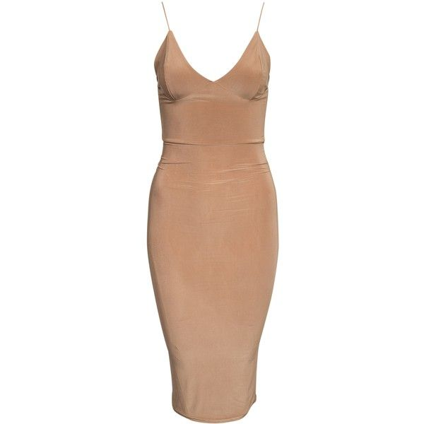 Club L Essentials Cami Strap Slinky Mini Dress ($40) ❤ liked on Polyvore featuring dresses, short dresses, vestidos, dresses/rompers, light beige, party dresses, womens-fashion, beige cocktail dress, strap dress and short fitted dresses