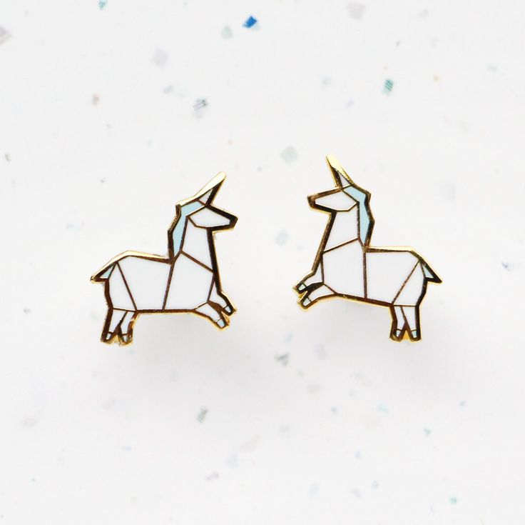 Did you know the unicorn is Scotland's national animal?! These cute Origami Unicorn earrings by Hug a Porcupine feature a couple of handsome white unicorns with a shiny horn and pastel blue mane. The adorable design is inspired by the Japanese art of origami. The Origami Unicorn Stud Earrings measure 1.5 by 1.45cm