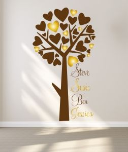 A tree with heart shaped leaves, in two colours with your family names.  All our wall stickers/decals are available in a great range of sizes and colours - and can be personalised to be truly custom.