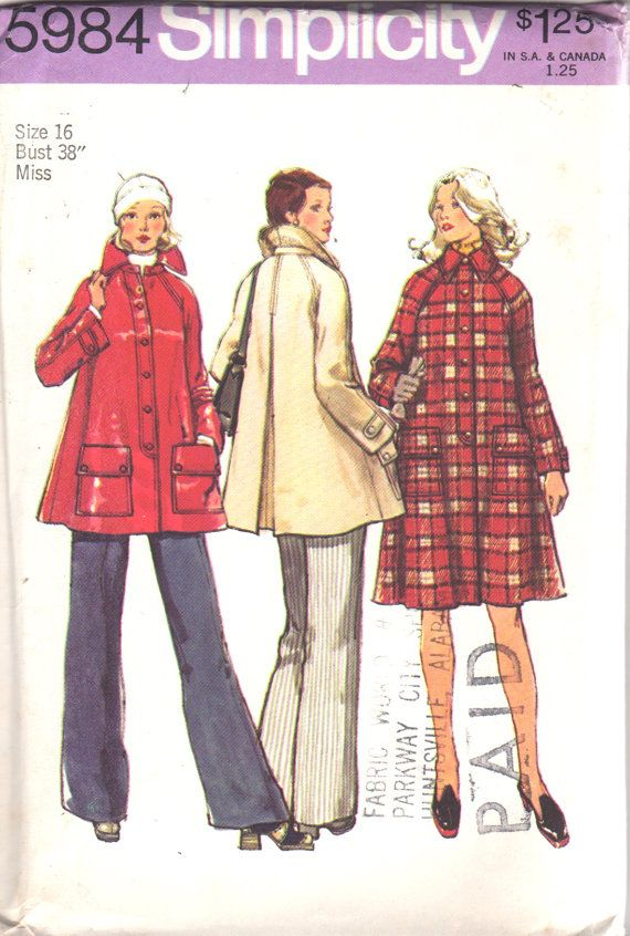 1970s Simplicity 5984 Misses Tent Coat Jacket Pattern