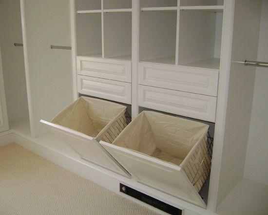 Multiple photos of walk in closet ideas - vanity, laundry, jewellery, shoe & ironing board ideas too